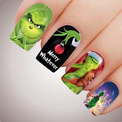 MERRY WHATEVER Christmas Full Cover Nail Decal Art Water Slider Grinch Xmas