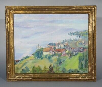 Vintage Oil Painting, Landscape, Montreux, Lake Geneva, Swiss Alps, Signed, 1965