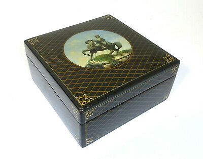 Casket Lacquer Box Pappmaschee Russia Fedoskino 1954 Signed