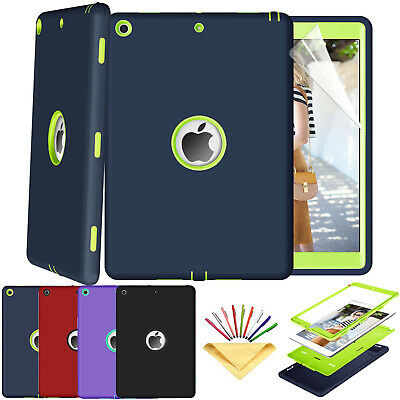 For iPad 7th Gen 10.2 Heavy Duty Shockproof Rugged Case w/ PET Screen Protector