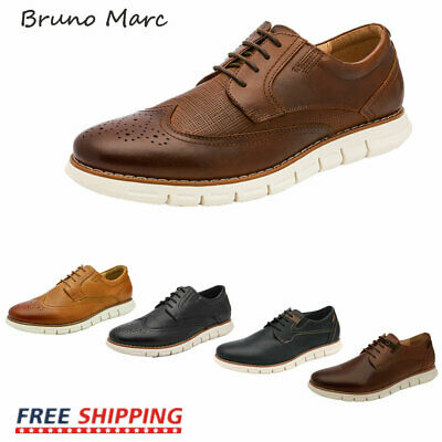 Bruno Marc Men Genuine Leather Oxford Dress Sneakers Casual Lace Up Dress Shoes