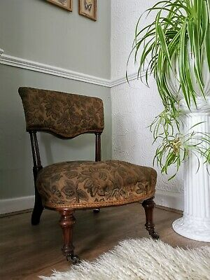 Antique Holland & Sons Country House Open Back Low Nursing Chair Victorian