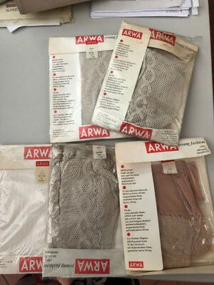 LOTTO 3 Collant ARWA calze vintage a rete bianco bahama beige corda boxed  n.16