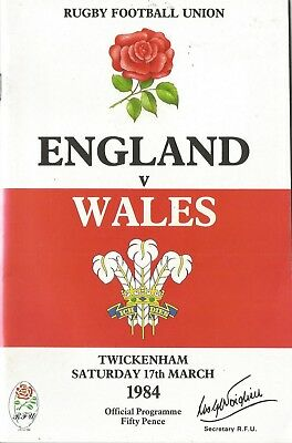 Rugby Union Programme - England v Wales - 17/3/1984