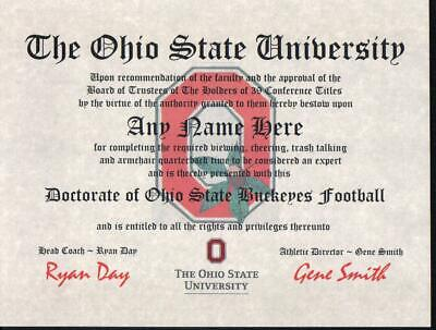 The Ohio State Buckeyes  Football~ Certificate ~Diploma  ~ Man Cave ~