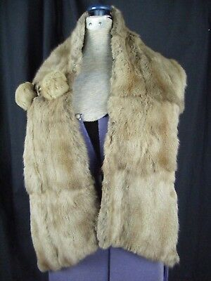 "PROFITLICH Vintage Grey Rex Chinchilla Fur long Collar Scarf-48.5"" long"