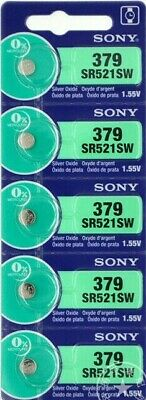 5 New SONY SR521SW Silver Oxide 1.55v Watch Batteries MADE in JAPAN Aussie Stock