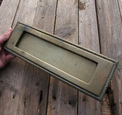 Vintage Brass Letter Box Plate with WORKING SPRING Door Mail Slot Mailbox 11""