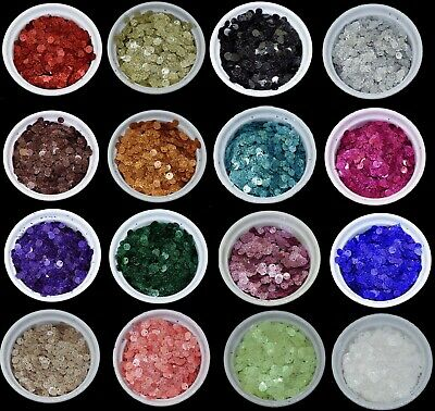 20 COLOURS - 5mm Glitter Round Loose Sequins Sewing Pack of 300 BU1348