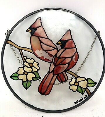 "Vintage Signed Birds Flowers Stained Glass 8"" Diameter Hanging Chain"