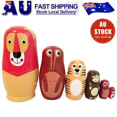 6Pcs Fox Animals Russian Nesting Doll 6 Layers Schima Painted Toys Gift set AU