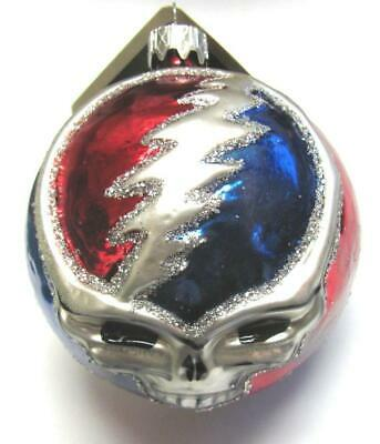 Grateful Dead STEAL YOUR FACE Glass Christmas Ornament Slavic Treasures