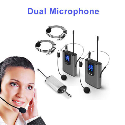 "Wireless System With Dual Headset Mics/lavalier Mics 1/4""Output for PA Speakers"
