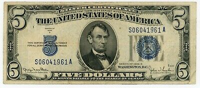 1934D United States Silver Certificate $5 Dollars - scarce
