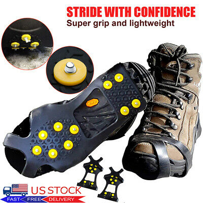 Ice Snow Grippers Cleats Anti-Slip Boot Shoes Covers Studs Spike Crampons Hiking