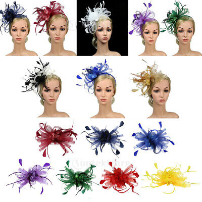 Mesh Bowknot Aliceband Feather Fascinator Headband Wedding Bridal Headwear