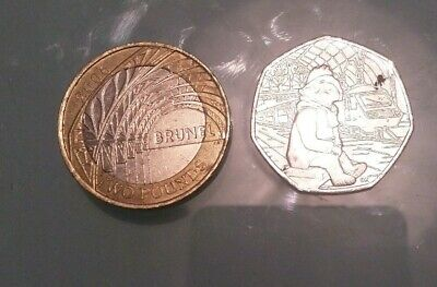 2006 I K BRUNEL £2 pound and Paddington Bear at the Station 50p coins.