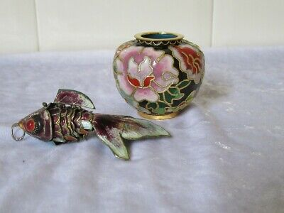 Vintage Enamel / Cloisonne Articulated Fish and Small Vase/Pot