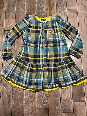 Catimini Girls Size 5 Dress/Tunic Plaid Embroidered Lace, Lined, Long Sleeve