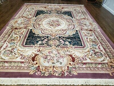 8' X 10' Vintage CHINESE Hand Made Wool Rug Aubusson Savonnerie Silk Accent