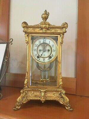 Antique Ansonia  Ornate Mantel Clock Brass Beveled Glass