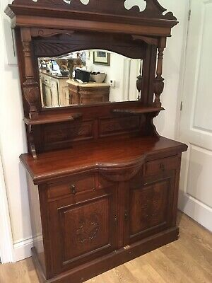 Victorian Style Solid Oak Hand Carved Mirror Dresser/cupboard/unit/sideboard/she
