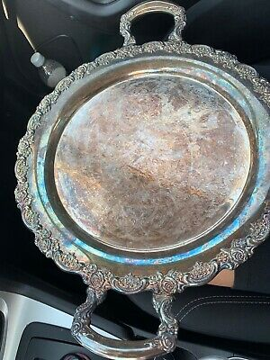 """Oneida Antique 15"""" round Butlers serving Tray with handles (Tarnished/Patina)"""