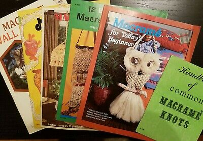 6 Vintage Macrame Pamphlets 70s craft how-to purses owls