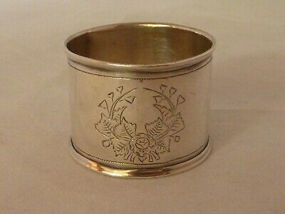 Antique Russian 84std solid silver hand engraved napkin ring - 1893
