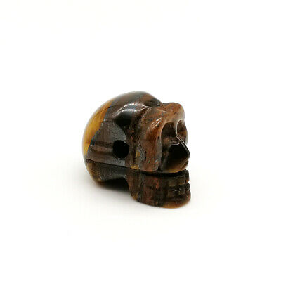 Tiger Eye Carved Skull Quartz Crystal Stone Skull Healing Figurines Gift 1.5""