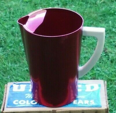 Vintage Aluminum WEST BEND Red with Ice Lip White handle Water Pitcher 1950s
