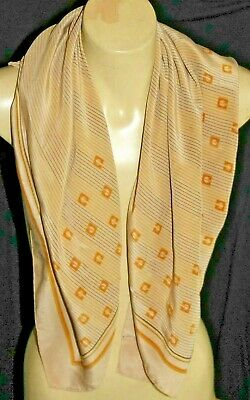 Large square Gherardini 100% silk scarf - caramel, brown and orange. Italy.