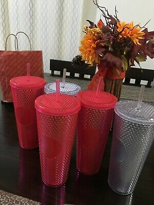 *HOT* Starbucks Venti 24oz Neon Pink Red Studded Tumbler Cup Winter Holiday 2019