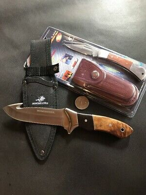 Winchester Knife And Pocket Knife, Leather Pouch - Bulk Factory 2nds Sale