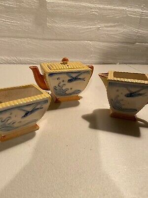 Antique Fine Japanese Teapot And Creamer And Sugar Very Rare Flying Fish Design