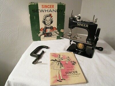 Vintage Singer Sewhandy Model 20 Childs Black Sewing Machine with Box and Manual
