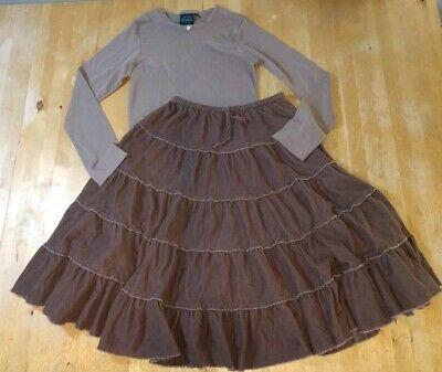 GIRLS Mini Boden midi length twirly SKIRT & shirt top SIZE 12-13-14 outfit fall!
