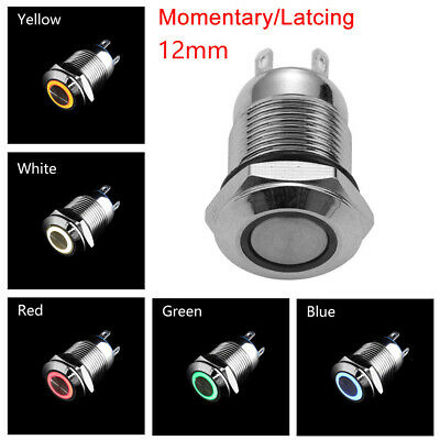 12V Metal Switch Momentary Push Button Red Led 12mm GB1