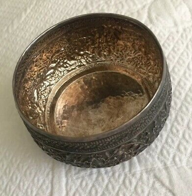 Antique 100% Pure Silver Repousse Small Bowl 46.8grams