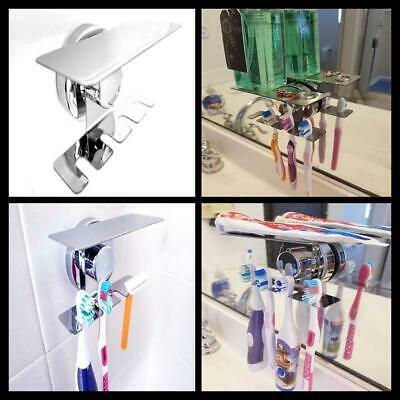 Mirror Tile Wall Mount Suction Cup Toothbrush Holder Razor Jewelry Storage NEW