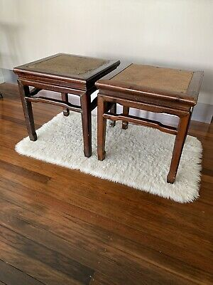 2 antique Chinese timber side tables