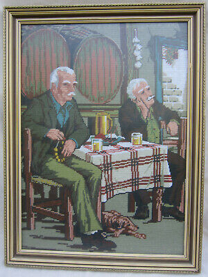 Needlepoint Tapestry  Large Framed Work with Non-reflective Glass