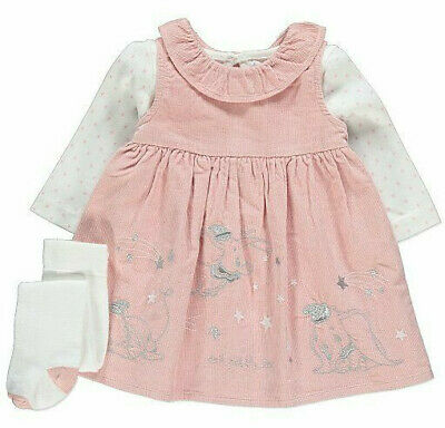 Disney Baby Girls Dumbo Pink Corduroy Dress Top and Tights 3 Piece Set BNWT