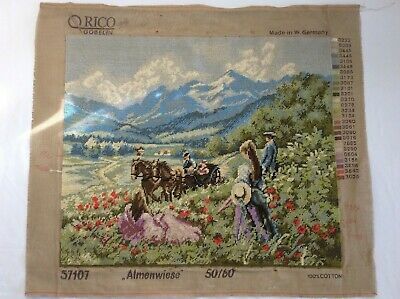 Fully Worked Tapestry with horses 60cm X 51cm Germany