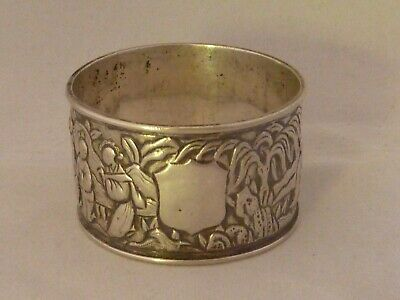 Chinese 800std solid silver figural napkin ring