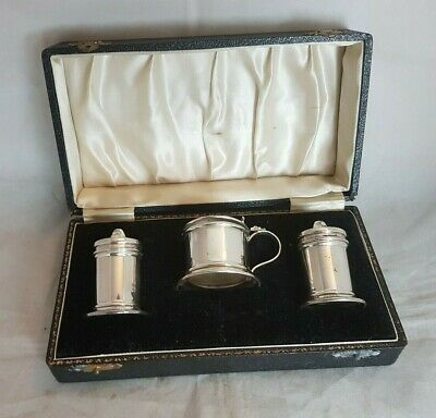 Beautiful Vintage 3 Piece Silver Plated Condiment Set (Boxed)