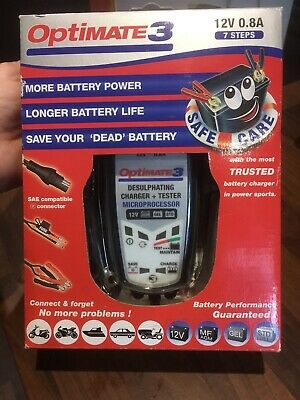 Optimate 3 Motorcycle Battery Charger Optimiser 12V