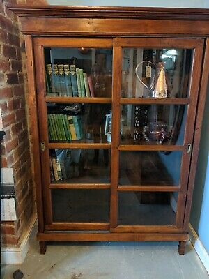 Large Antique Glazed Library Bookcase Cupboard Shelves With Sliding doors