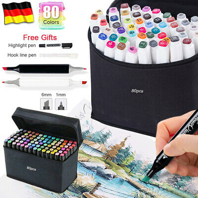 80 Lackmarker Stifte Set Touch Copic Markers Twin Tip Sketch Painting Handschuhe