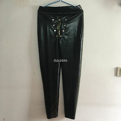 100% Latex Rubber Schwarz Mittlere Taille Tight Trousers Hosen Sexy Pants  S-XXL